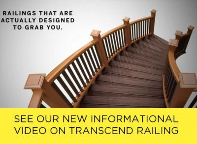 Transcend beveled deck rail in Tree House brown with black aluminium balusters