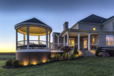 Trex landscape lighting lights up a gazebo