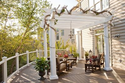 A Trex Pergola provides the perfect amount of shade and a style that will enhance any outdoor space.