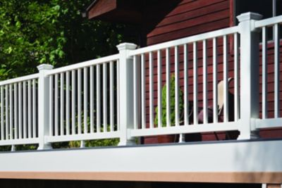 Trex Select composite railing in Classic White pairs perfectly with all Trex high performance decking