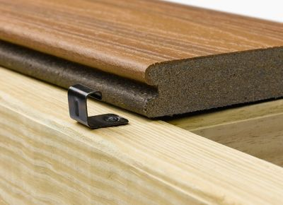 Trex Hideaway Hidden Fastening System start clip used to install Transcend grooved edge composite decking