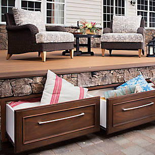 Make use of every inch of your outdoor oasis with Trex Furniture & Outdoor Storage.