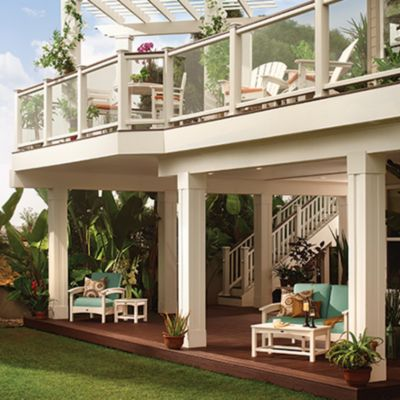 Glass-paneled deck and porch railing from Trex allows you to see the beauty of your backyard without any obstructions.