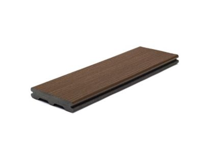 Trex Contour grooved composite deck board in Honey brown