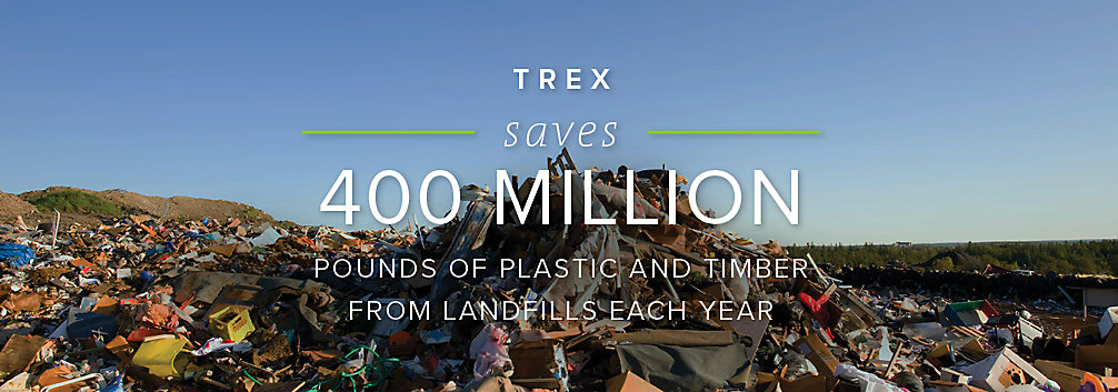 Trex's eco-friendly manufacturing processes save 400 million pounds of plastic and timber from ending up in landfills each year.