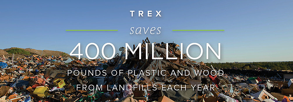 Trex's eco-friendly manufacturing processes save 400 million pounds of plastic and wood from ending up in landfills each year.
