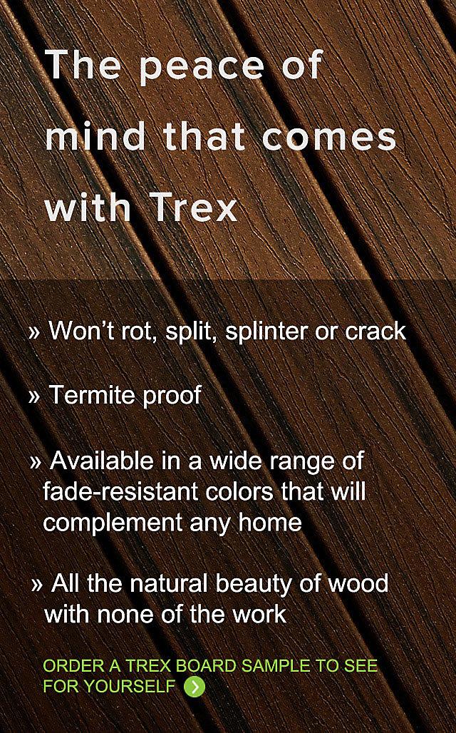 Les terrasses en matériau composite Trex sont la solution de rechange simple au bois et conserveront leur beauté pour des années à venir.