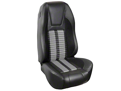 TMI Premium Sport R500 Seat Upgrade - Black Vinyl & Gray Stripe/Stitch (87-89 Hatchback)
