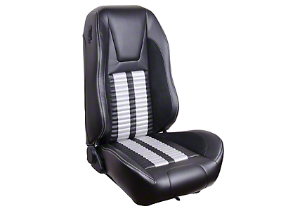 TMI Premium Sport R500 Seat Upgrade - Black Vinyl & White Stripe/Stitch (99-04 Coupe)