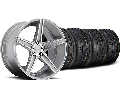 Staggered Niche Apex Machined Silver Wheel & NITTO INVO Tire Kit - 20x8.5/10 (05-14 All)