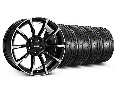 Staggered 11/12 GT/CS Style Black Machined Wheel & Mickey Thompson Tire Kit - 18x9/10 (05-14 GT, V6)
