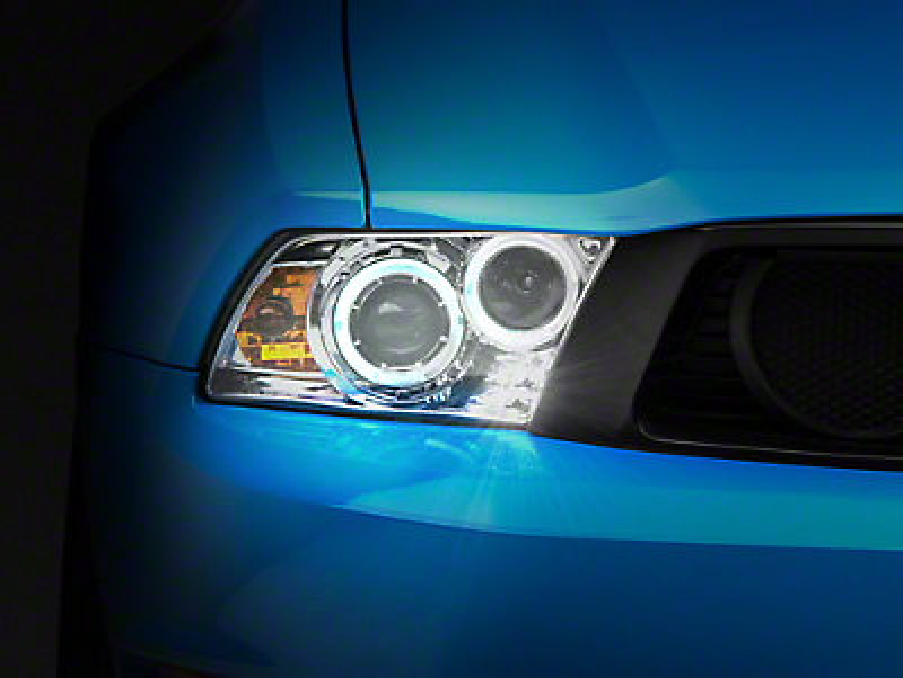 Axial Chrome Projector Dual Halo Headlights - LED (10-12 GT, V6)