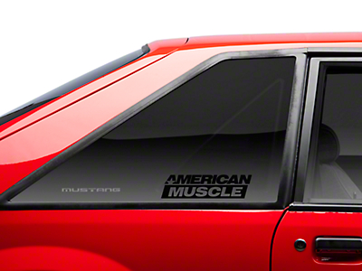 AmericanMuscle Quarter Window Decal - Black (79-93 All)