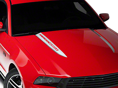 Silver Hood Accent Decal - AmericanMuscle Logo (10-12 GT, V6)