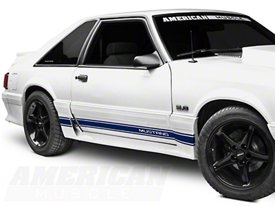 Blue Rocker Stripes w/ Mustang Lettering (79-93 All)