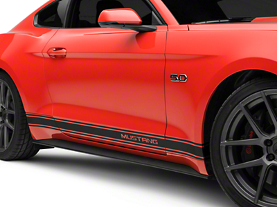 Matte Black Rocker Stripes w/ Mustang Lettering (15-17 All)