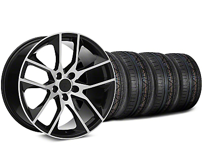 Staggered 2015 Mustang GT Style Black Machined Wheel & NITTO INVO Tire Kit - 19x8.5 (05-14)