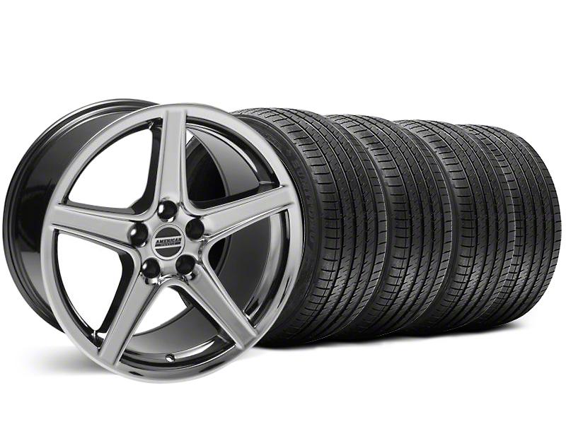 Staggered Saleen Style Black Chrome Wheel & Sumitomo Tire Kit - 18x9/10 (99-04)