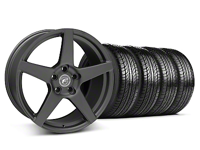 Staggered Forgestar CF5 Matte Black Wheel & Pirelli Tire Kit - 19x9/10 (05-14 All)
