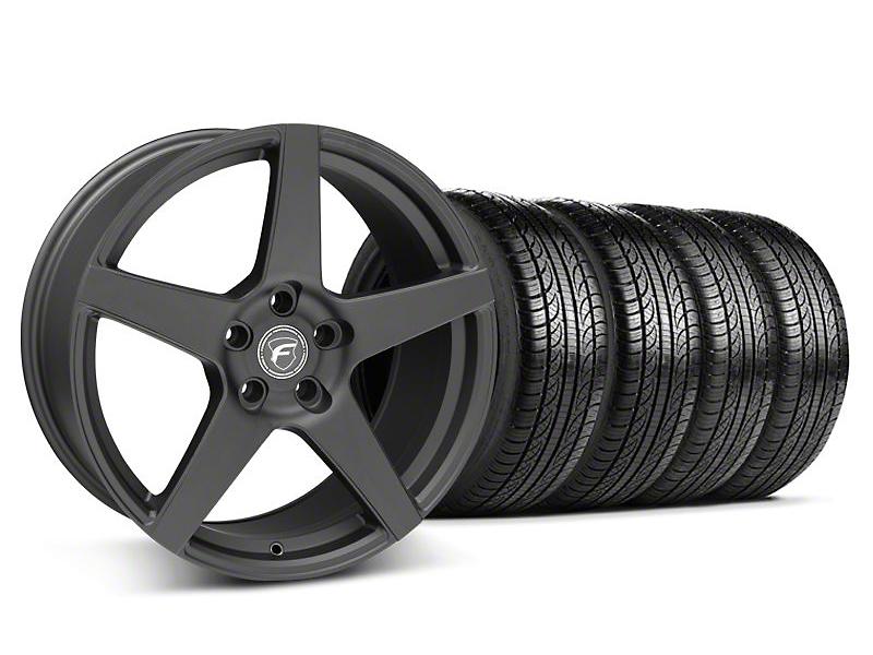 Staggered Forgestar CF5 Matte Black Wheel & Pirelli Tire Kit - 19x9/10 (05-14 All)