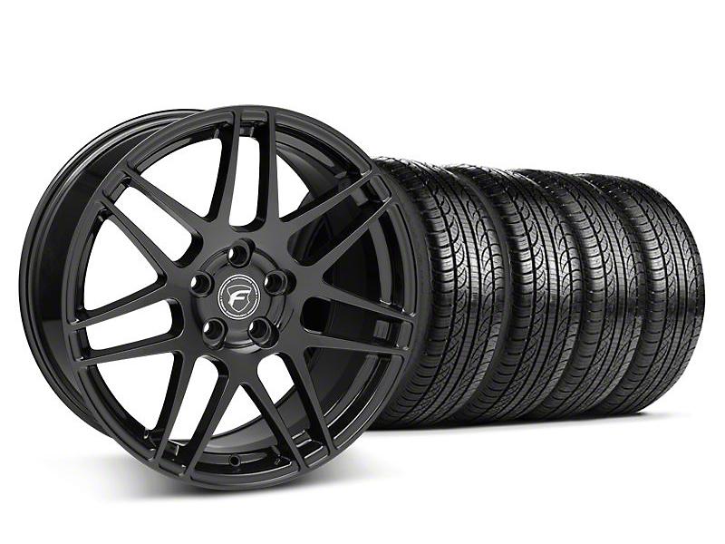 Staggered Forgestar F14 Matte Black Wheel & Pirelli Tire Kit - 19x9/10 (05-14 All)