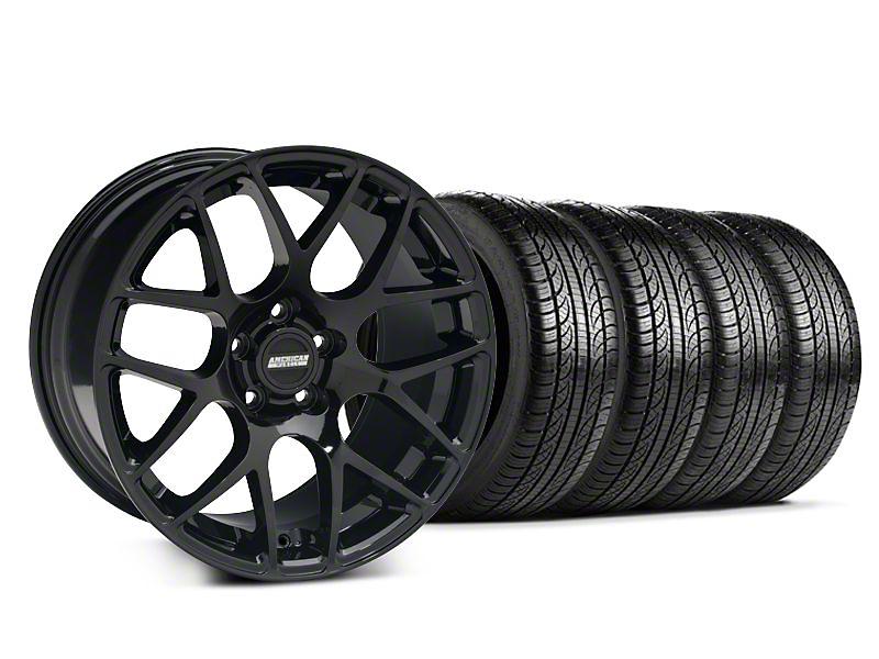 Staggered AMR Black Wheel & Pirelli Tire Kit - 19x8.5/10 (05-14 All)