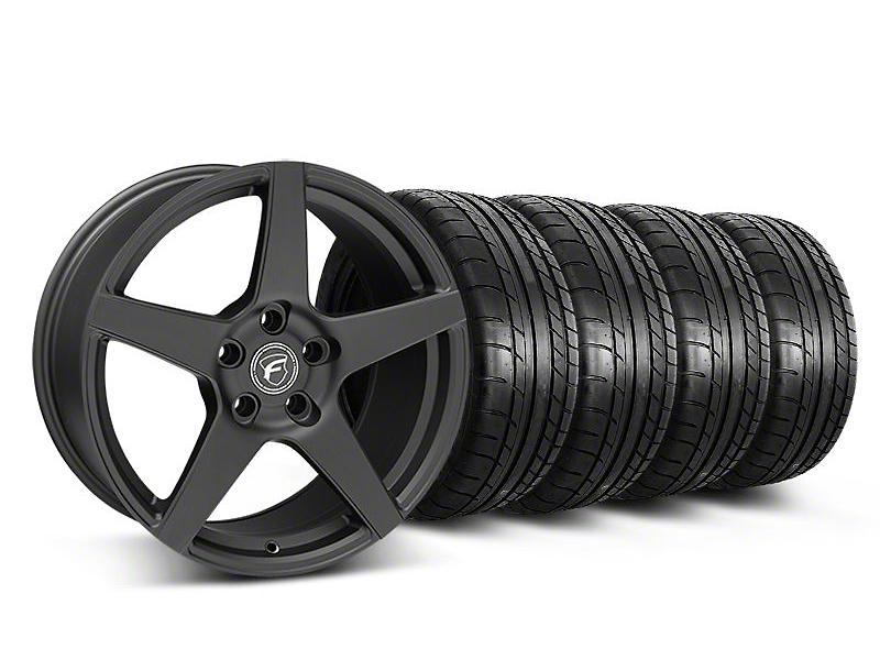 Staggered Forgestar CF5 Monoblock Matte Black Wheel & Mickey Thompson Tire Kit - 18x9/10 (05-14 All)