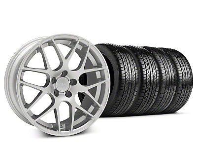 Staggered AMR Silver Wheel & Pirelli Tire Kit - 19x8.5/10 (05-14 All)
