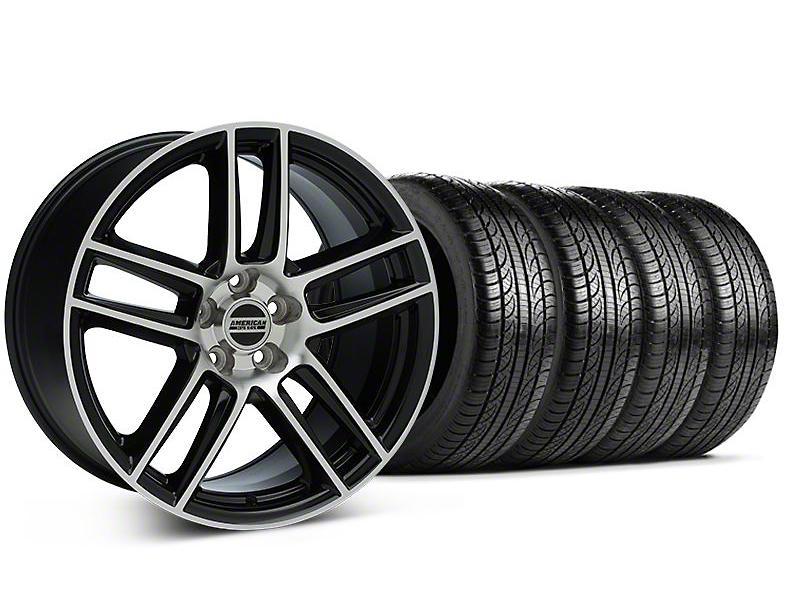 Staggered Laguna Seca Style Black Machined Wheel & Pirelli Tire Kit - 19x9/10 (05-14 All)