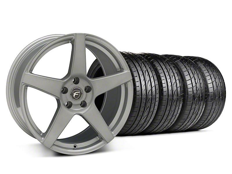 Staggered Forgestar CF5 Monoblock Silver Wheel & Sumitomo Tire Kit - 19x9/10 (05-14 All)