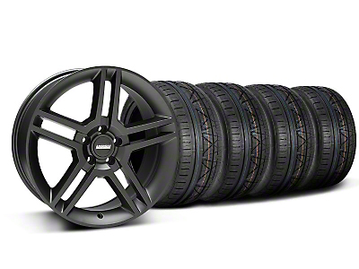 Staggered 2010 GT500 Style Matte Black Wheel & NITTO INVO Tire Kit - 19x8.5/10 (05-14 All)