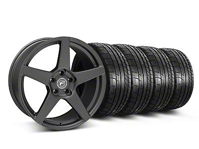 Staggered Forgestar CF5 Monoblock Matte Black Wheel & Mickey Thompson Tire Kit - 19x9/10 (05-14 All)