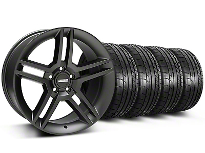 2010 GT500 Style Matte Black Wheel & Mickey Thompson Tire Kit - 18x9 (05-14)