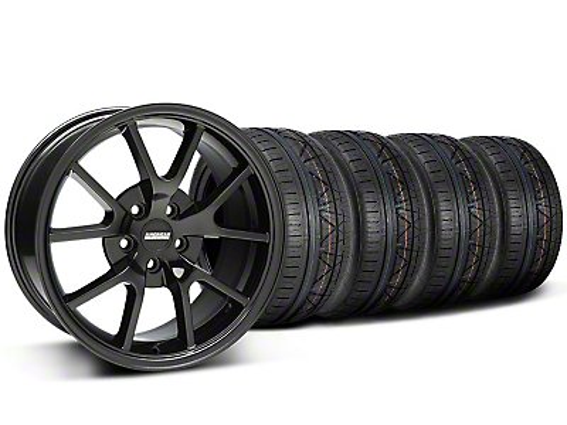FR500 Style Gloss Black Wheel & NITTO INVO Tire Kit - 18x9 (05-14)