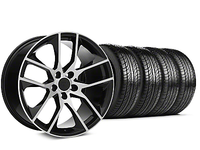 Staggered 2015 Mustang GT Style Black Machined Wheel & Pirelli Tire Kit - 19x8.5 (15-17 All)