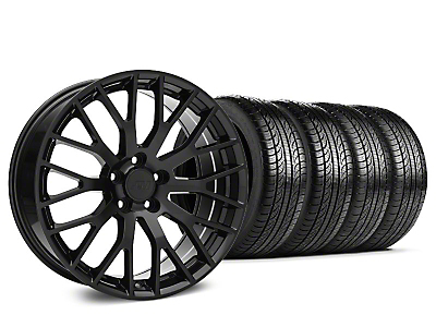 Staggered Performance Pack Style Black Wheel & Pirelli Tire Kit - 19x8.5 (15-17 All)