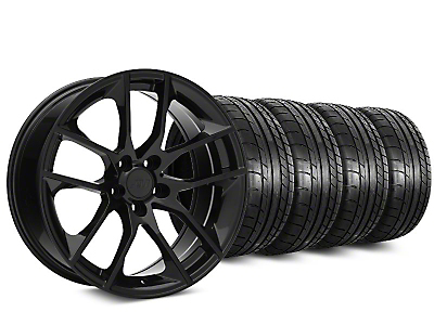 Staggered 2015 Mustang GT Style Black Wheel & Mickey Thompson Tire Kit - 20x8.5/10 (15-17 All)