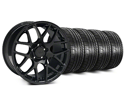 Staggered AMR Black Wheel & Mickey Thompson Tire Kit - 19x8.5/10 (15-17 All)
