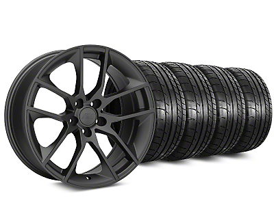 Staggered 2015 Mustang GT Style Charcoal Wheel & Mickey Thompson Tire Kit - 19x8.5 (15-17 All)