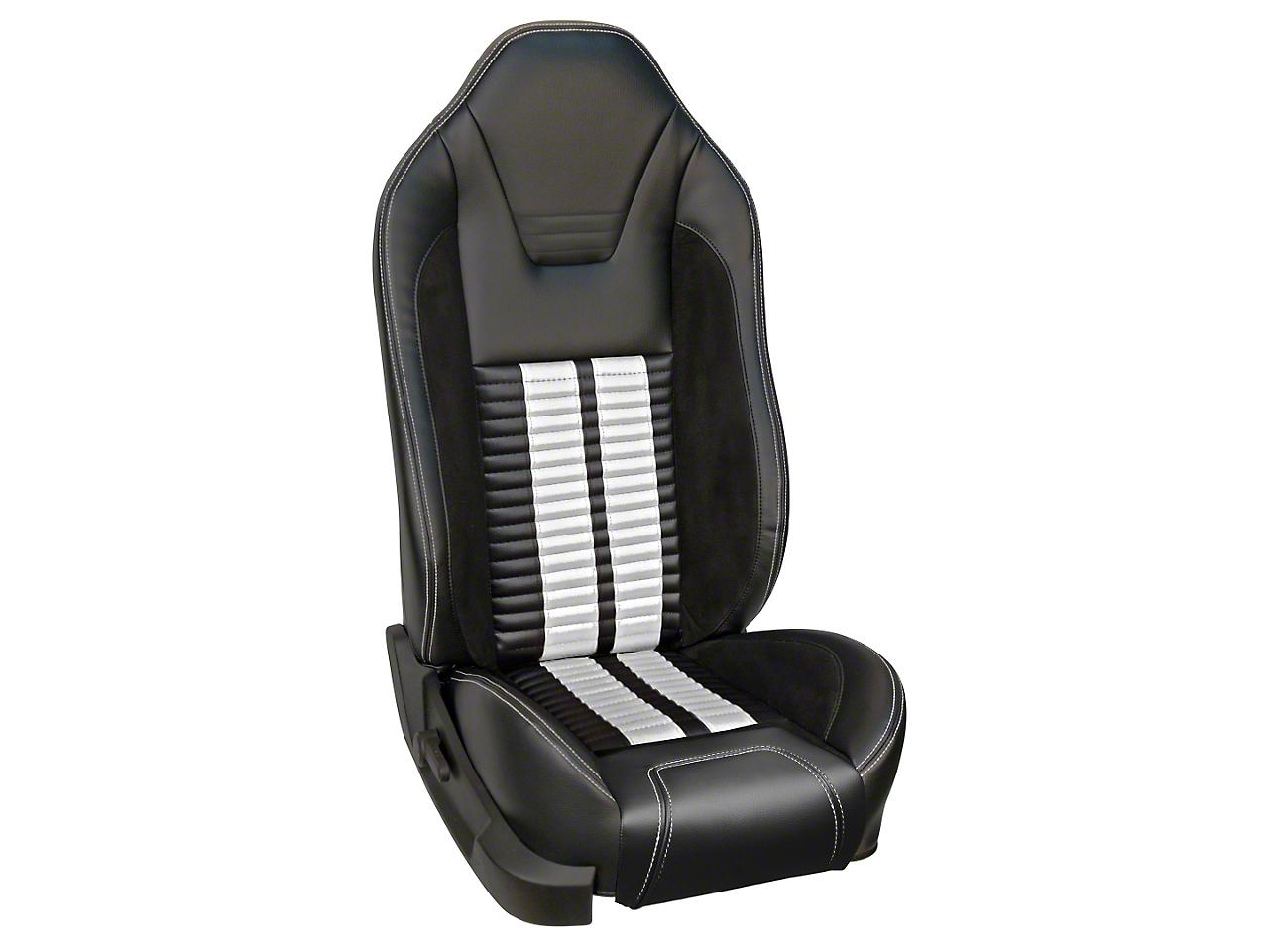 TMI Premium Sport R500 Upholstery & Foam Kit with Airbags - Black Vinyl & White Stripe/Stitch (05-10 GT, V6)