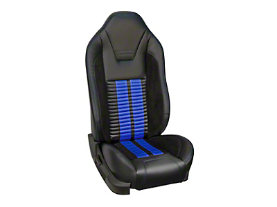 TMI Premium Sport R500 Upholstery & Foam Kit with Airbags - Black Vinyl & Blue Stripe/Stitch (05-10 GT Coupe, V6 Coupe)