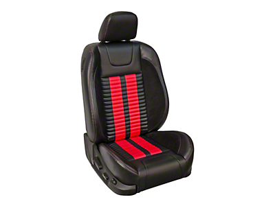 TMI Premium Sport R500 Lowback Style Upholstery Front Only with Airbags - Black Vinyl & Red Stripe/Stitch (05-10 GT Coupe, V6 Coupe)