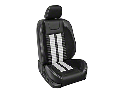 TMI Premium Sport R500 Lowback Style Upholstery Front Only with Airbags - Black Vinyl & White Stripe/Stitch (13-14 GT Coupe)