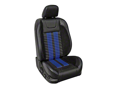 TMI Premium Sport R500 Lowback Style Upholstery Front Only with Airbags - Black Vinyl & Blue Stripe/Stitch (13-14 GT Coupe)
