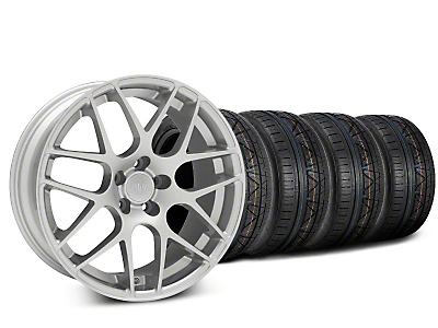 Staggered AMR Silver Wheel & NITTO INVO Tire Kit - 18x9/10 (05-14 All, Excludes 13-14 GT500)