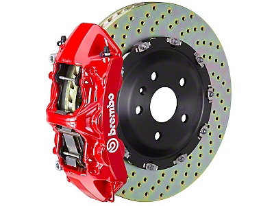 Brembo GT 6-Piston Front Brake Kit Red - 15in Drilled Rotors (11-14 GT Brembo, 12-13 BOSS, 07-12 GT500)