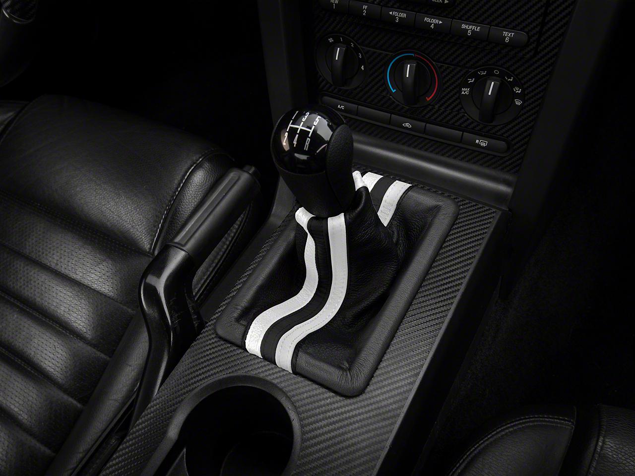 Premium Black Leather Shift Boot - Dual White Stripe (05-09 GT, V6)