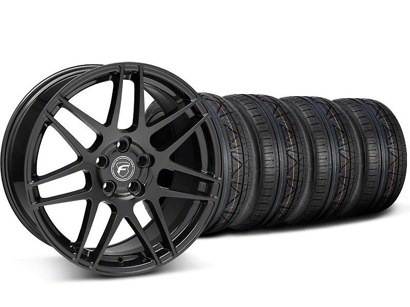 Staggered Forgestar F14 Monoblock Piano Black Wheel & NITTO INVO Tire Kit - 19x9/11 (05-14 All)