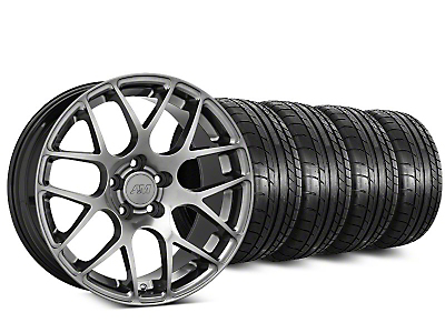 Staggered AMR Dark Stainless Wheel & Mickey Thompson Tire Kit - 18x8/9 (05-14 All)