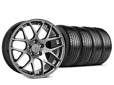 Staggered AMR Dark Stainless Wheel & Pirelli Tire Kit - 19x8.5/10 (05-14 All)